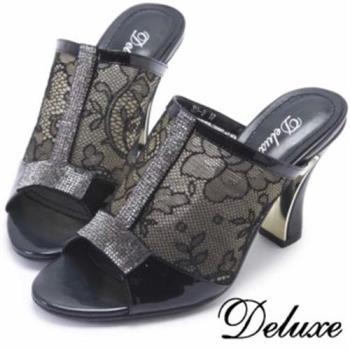 【Deluxe】全真皮T字水鑽透膚雕花高跟涼鞋(黑)