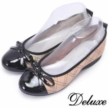 【Deluxe】可愛漆皮鞋頭菱格紋娃娃鞋(白★粉)