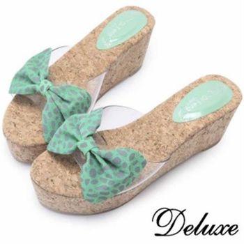 【Deluxe】綠豹紋透膚邊楔型涼跟鞋(綠色)