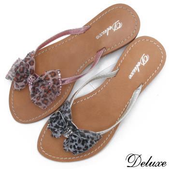 【Deluxe】豹紋蝴蝶結燙鑽夾腳涼鞋(咖/粉/銀)