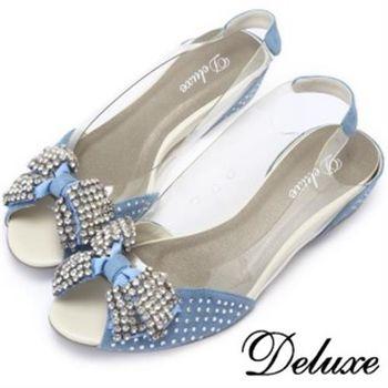 【Deluxe】交叉水晶蝴蝶透膚楔型涼跟鞋(藍)