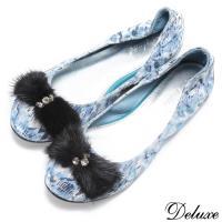 【Deluxe】全真皮皮草蝴蝶結舒適平底娃娃鞋 藍