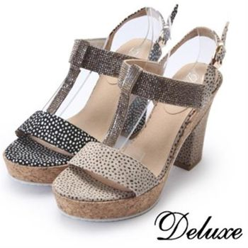 【Deluxe】動物紋T字性感水鑽涼跟鞋(咖啡★黑)
