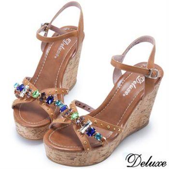 【Deluxe】全真皮不規則水鑽交叉簍空楔型涼鞋(咖啡)