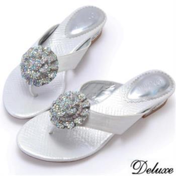 【Deluxe】全真皮閃亮淑女水鑽夾腳拖鞋(白)