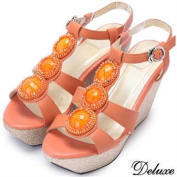 【Deluxe】全真皮水晶環繞楔型涼跟鞋(橘)