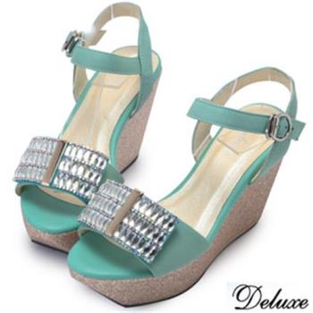 【Deluxe】全真皮排列水鑽楔型涼跟鞋(綠)