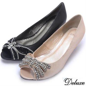 【Deluxe】全真皮蝶形水晶鑽露趾魚口跟鞋(米★黑)