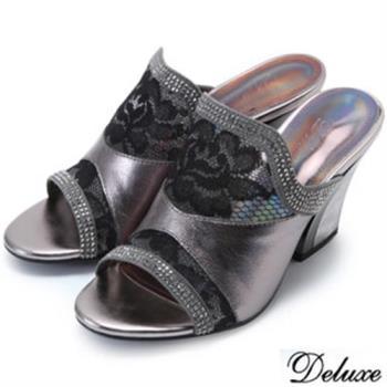 【Deluxe】全真皮氣質網紗水鑽高跟涼鞋(銀灰★米)