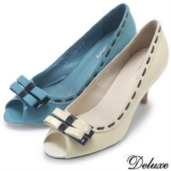 【Deluxe】全真漆皮質感滾邊雙蝴蝶結魚口跟鞋(白★藍)
