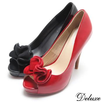 【Deluxe】全真皮優雅法式宴會鞋魚口高跟鞋(黑)