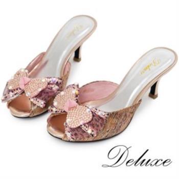 【Deluxe】全真皮繽紛網紗水晶蝴蝶結魚口涼鞋
