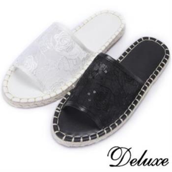 【Deluxe】蕾絲網紗草編涼拖鞋(白★黑)