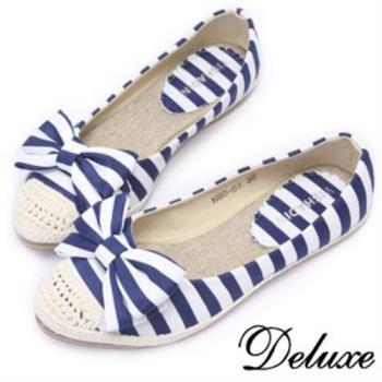 【Deluxe】海軍風草編便鞋(藍白條紋)