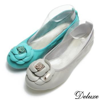 【Deluxe】全真羊皮薔薇花型平底娃娃鞋(藍)