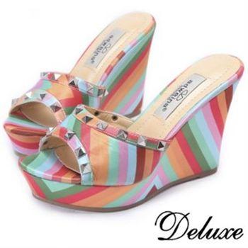 【Deluxe】夏日繽紛‧亮彩鉚釘楔型涼跟鞋(★彩色)