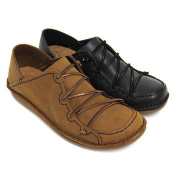 【GREEN PHOENIX】RED ANT仿舊經典純色鬆緊線兩穿手縫臘感全真皮平底懶人鞋(男鞋)-咖啡色、黑色