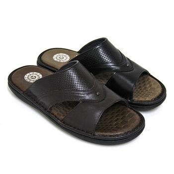 【GREEN PHOENIX】簡單穩重密集孔洞鏤空全真皮平底拖鞋(男鞋)-咖啡色、黑色