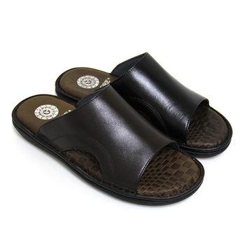 【GREEN PHOENIX】沉穩魅力極簡素面鏤空全真皮平底男拖鞋(男鞋)-咖啡色、黑色