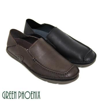 【GREEN PHOENIX】率性樸實極簡素面套入式臘感牛皮兩穿平底休閒鞋(男鞋)-咖啡色、黑色