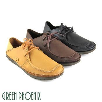 【GREEN PHOENIX】內斂純粹極簡素面綁帶臘感牛皮兩穿平底休閒男鞋(男鞋)-棕色、黑色