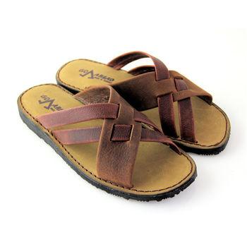 【GREEN PHOENIX】仿舊內斂交叉手工縫線全臘感牛皮平底拖鞋(男鞋)-咖啡色