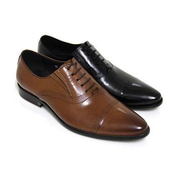 【GREEN PHOENIX】渲染側邊壓花格紋綁帶全真皮尖頭皮鞋(男鞋)-棕色、黑色