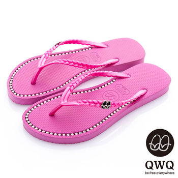 QWQ夾拖的創意(女) - 彩色素面  鞋面施華洛世奇鑽鍊夾腳拖鞋 - 俏麗粉