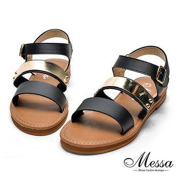 【Messa米莎專櫃女鞋】MIT羅馬簡約一字金屬造型涼鞋-黑色
