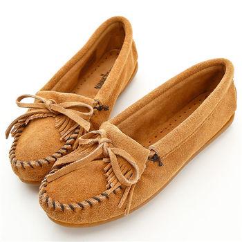 MINNETONKA 沙棕色麂皮素面莫卡辛 女鞋-407T