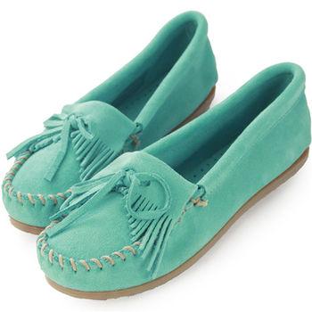 MINNETONKA 湖水綠麂皮素面平底莫卡辛 女鞋-402S