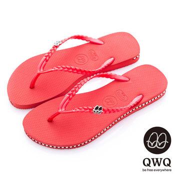 QWQ夾拖的創意(女) - 彩色素面  鞋側施華洛世奇鑽鍊夾腳拖鞋 - 搖滾紅
