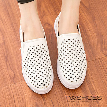 【TOMO】《正韓空運》質感皮革星星造型鏤空懶人鞋(K120I3458)