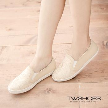 【TW Shoes】花紋拼接蕾絲懶人鞋(K120A2740)