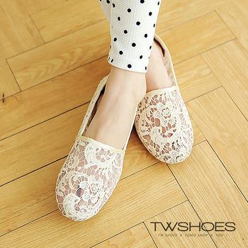 【TOMO】鏤空蕾絲勾花透膚感休閒懶人鞋(K160A2093)