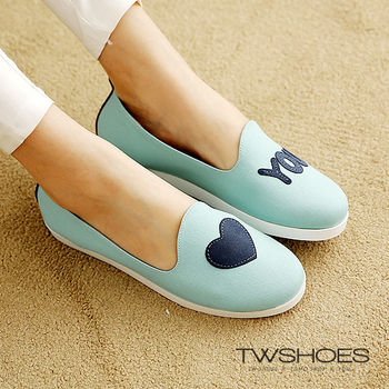 【TW Shoes】LOVE YOU字樣刺繡馬卡龍系懶人鞋(K124F1007)