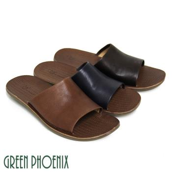 【GREEN PHOENIX】全真皮耐磨壓編織紋室內外兩用平底男拖鞋(男鞋)-牛仔、咖啡色、棕色