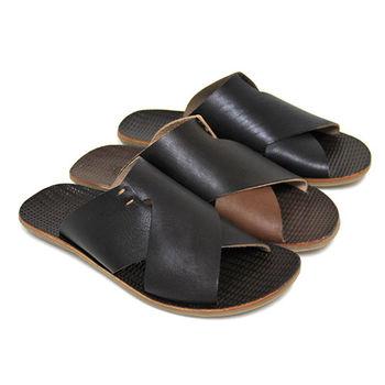 【GREEN PHOENIX】輕鬆假期寬版交叉雙彩撞色全真皮平底拖鞋(男鞋)-咖啡色、黑色