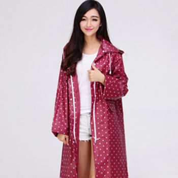 【美娜甜心】日本熱銷設計款時尚修身雙口袋連帽雨衣/風衣(拉鍊暗扣附收納袋)
