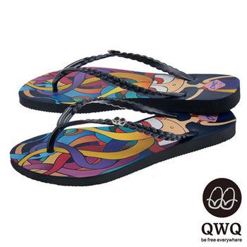 QWQ夾拖的創意(女) - 藝術塗鴨  小魔女 夾腳拖鞋 - 彩黑