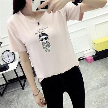 【菟絲花】大尺碼-新款印花短袖t恤-現貨+預購