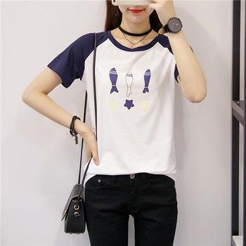 【菟絲花】大尺碼-圓領半袖白色純棉短袖印花t恤-現貨+預購