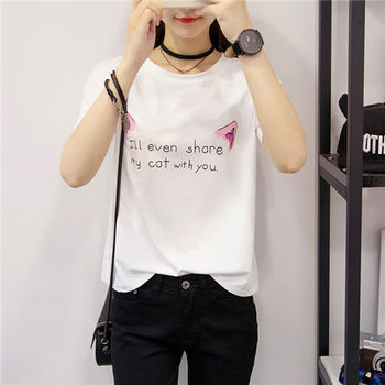 【菟絲花】大尺碼-寬鬆韓版印花學生上衣半袖打底體恤女裝-現貨+預購