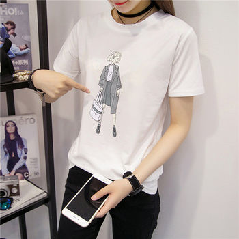 【菟絲花】大尺碼-韓版修身百搭純棉白色短袖t恤-現貨+預購