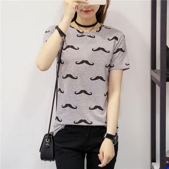 【菟絲花】大尺碼-短袖鬍子t恤韓版卡通印花寬鬆顯瘦學生上衣-現貨+預購