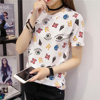 【菟絲花】大尺碼-韓版半袖體恤女裝夏季寬鬆上衣-現貨+預購