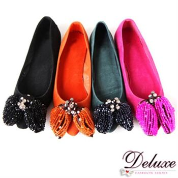 【Deluxe】水晶鑽串珠麂皮娃娃鞋-四色