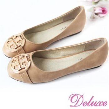 【Deluxe】人氣典雅圓飾扣平底娃娃鞋(二色)