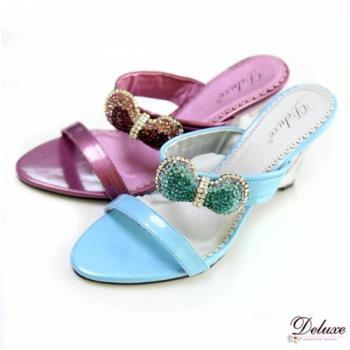 【Deluxe】渡假女神款.好感度蝴蝶結水晶鑽透明楔型涼鞋(二色)