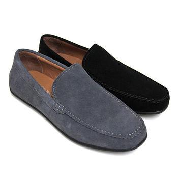 【GREEN PHOENIX】簡約純粹極簡素面套入式麂皮平底男休閒鞋(男鞋)-灰色、黑色